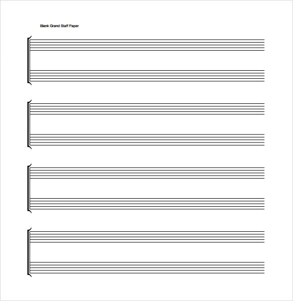 7 Printable Staff Paper Samples \u2013 Music
