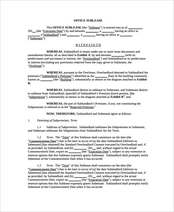 10+ Office Lease Agreement Templates Sample Templates - sample office lease agreement template