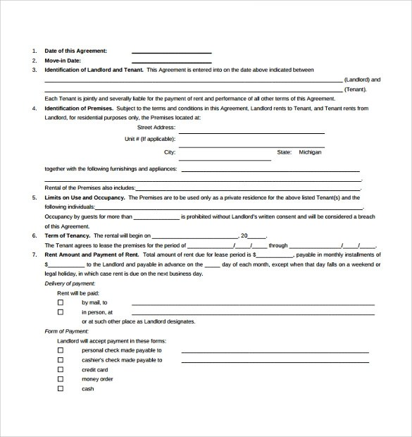 8 Standard Lease Agreement Templates \u2013 Samples , Examples  Format