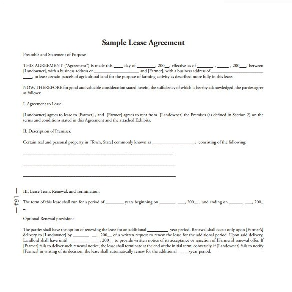 Standard Lease Agreement Templates - 8+ Samples , Examples \ Format - standard lease agreement template