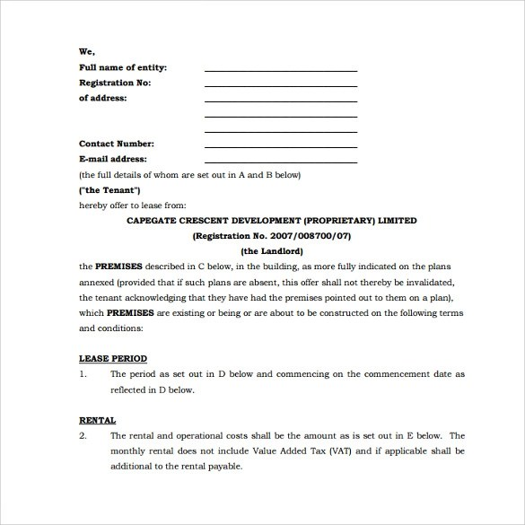 Lease Agreement Template Cape Town Best Resumes Curiculum Vitae - standard lease agreement template
