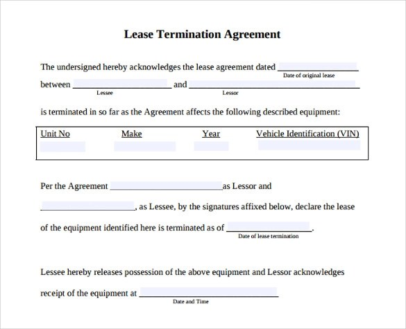 10 Lease Termination Agreement \u2013 Samples , Examples  Format