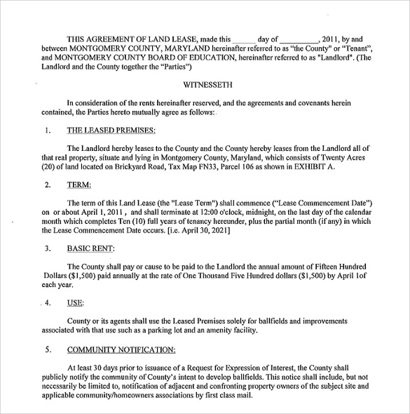 8+ Land Lease Agreement Templates - Free Sample, Example, Format - parking agreement template