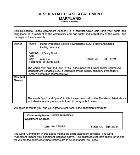 9 Residential Lease Agreement Templates \u2013 Free Samples, Examples