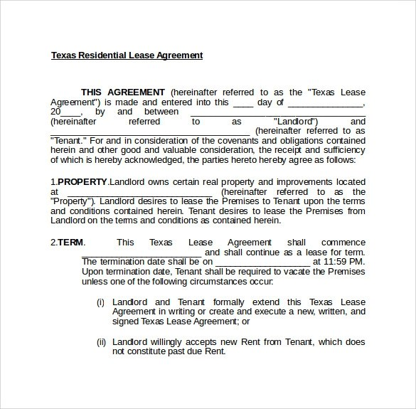Texas Lease Agreement - 7+ Samples, Examples, Format