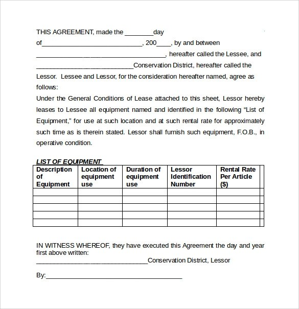 7 Equipment Lease Agreement Templates \u2013 Samples , Examples  Format