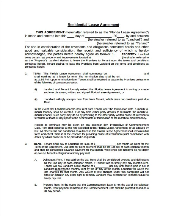 Residential Lease Agreement - 8+ Free Samples, Examples \ Format - free sample lease agreement