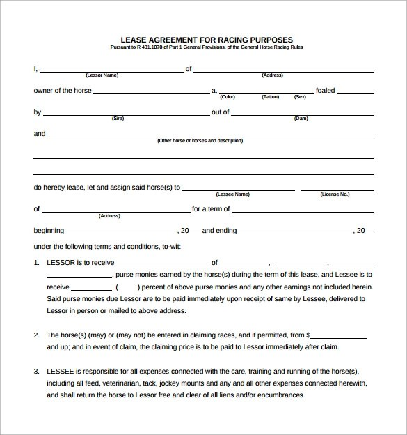 Sample Horse Lease Agreement Template Sample Horse Lease Agreement - Sample Pasture Lease Agreement Template