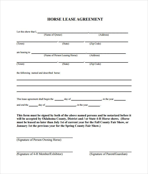 Sample Lease Agreement For Horse | Covering Letter Template Uk Word