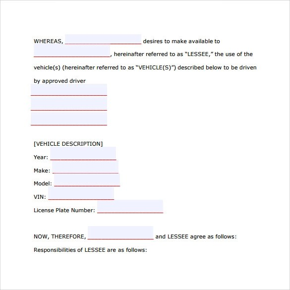 Car Lease Agreement Templates - 8+ Samples , Examples \ Format - auto purchase agreement template