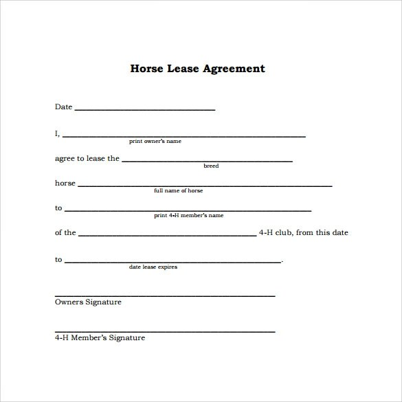 10+ Horse Lease Agreement Templates Sample Templates