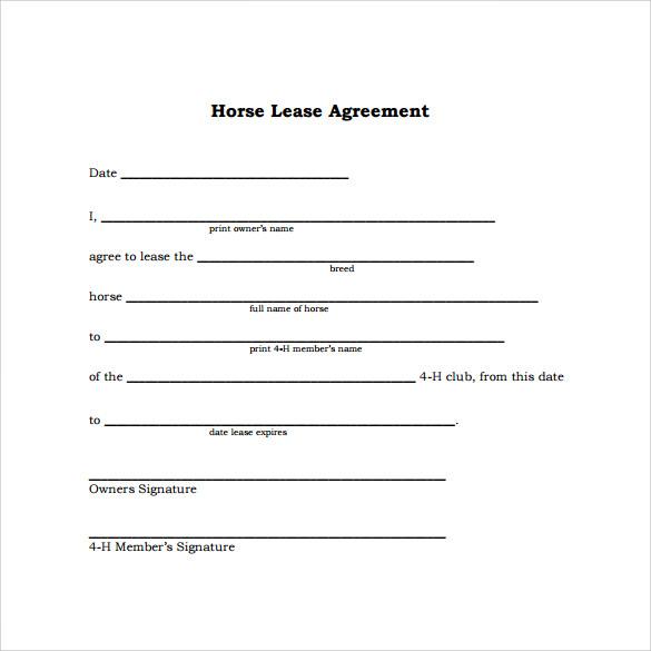 Sample Horse Lease Agreement 6 Printable Blank Lease Agreement - sample horse lease agreement template