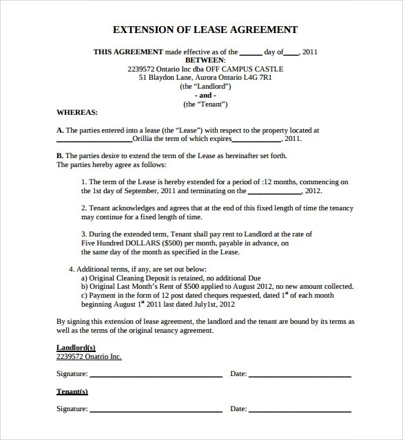 8 Lease Extension Agreement Templates \u2013 Samples, Examples  Format - lease extension agreement