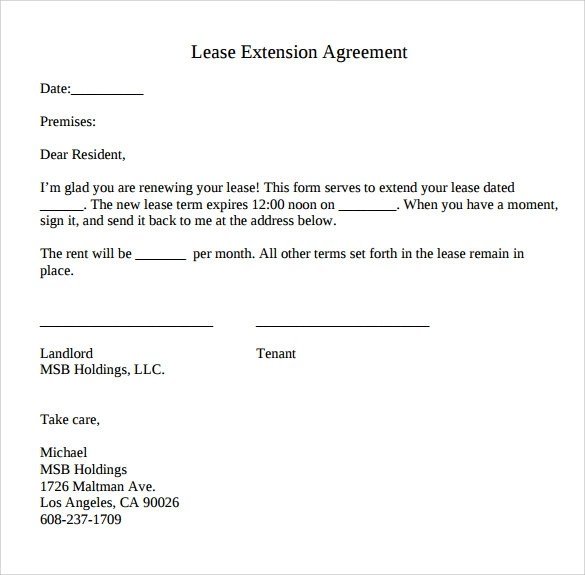 Lease Extension Agreement - 8+ Samples, Examples \ Format - lease renewal form