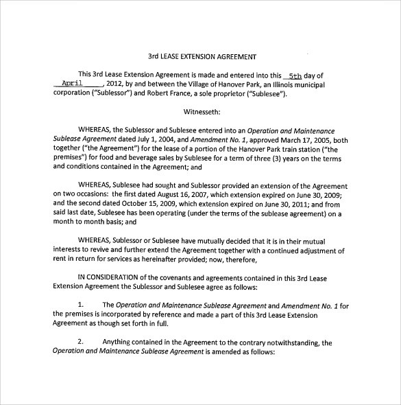 Lease Extension Agreement - 8+ Samples, Examples \ Format - lease extension agreement template