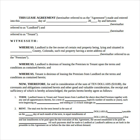 10+ Simple Lease Agreement Templates \u2013 Samples, Examples  Format