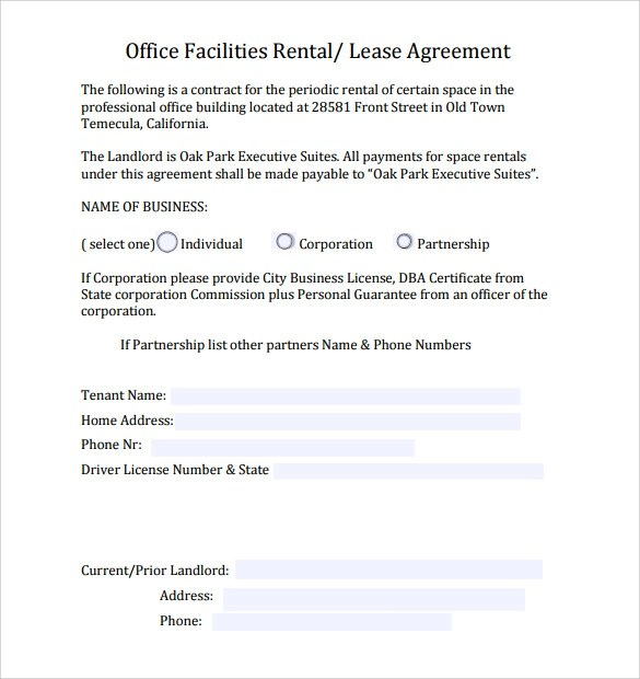 9+ Office Lease Agreement Templates \u2013 Samples, Examples  Format - sample office lease agreement template