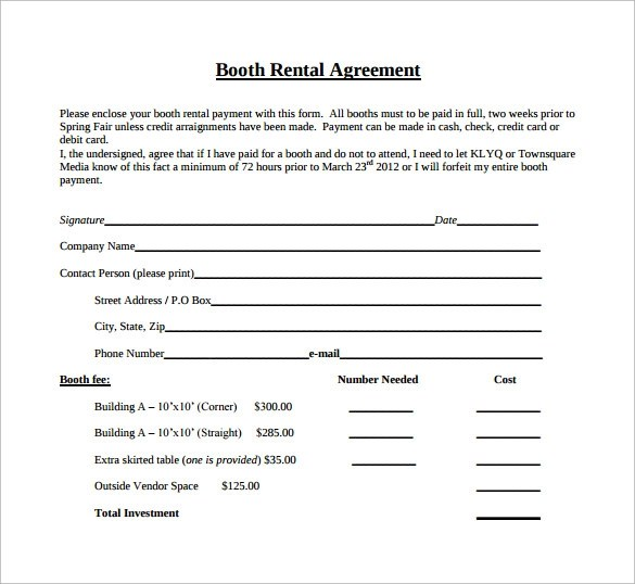 8+ Booth Rental Agreement Templates \u2013 Samples, Examples  Format - rental agreement