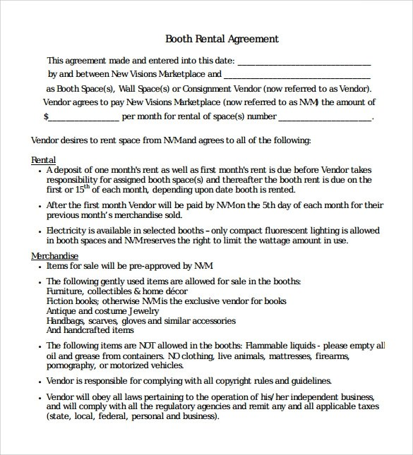 8+ Booth Rental Agreement Templates \u2013 Samples, Examples  Format