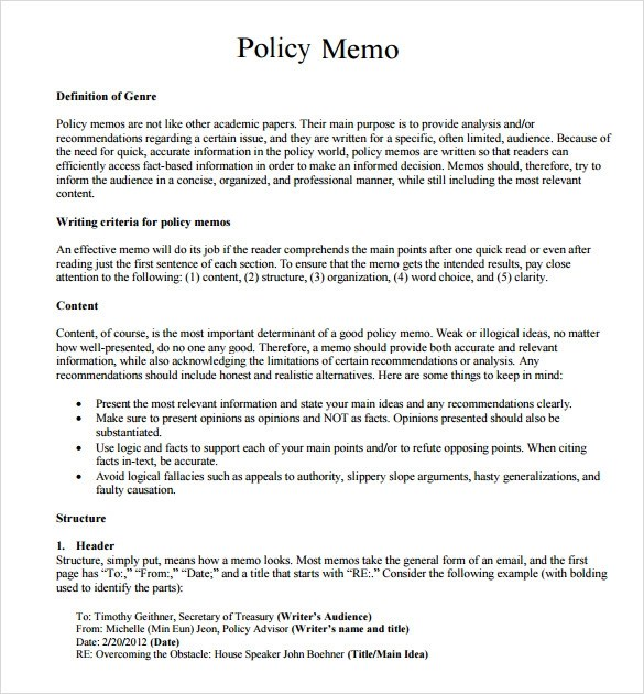 10+ Policy Memo Samples Sample Templates - policy memo template