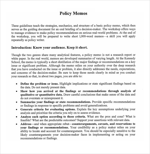 10+ Policy Memo Samples Sample Templates