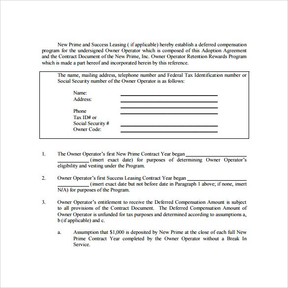 Owner Operator Contract Agreement Pdf – Sample Owner Operator Lease Agreement