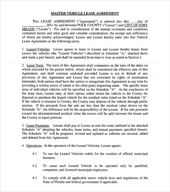 12+ Vehicle Lease Agreement Templates \u2013 Samples, Examples  Format