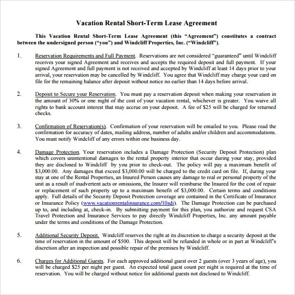 8 Vacation Rental Agreement Templates \u2013 Samples, Examples  Format - Sample Short Term Rental Agreement