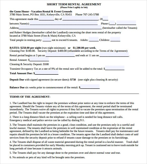 Vacation Rental Agreement   7+ Samples, Examples \ Format   Sample Vacation  Rental Agreement