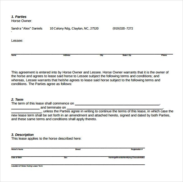 8+ Pasture Lease Agreement Templates \u2013 Samples, Examples  Format - Sample Pasture Lease Agreement Template