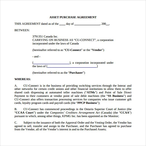 9 Sample Asset Purchase Agreement Templates Sample Templates