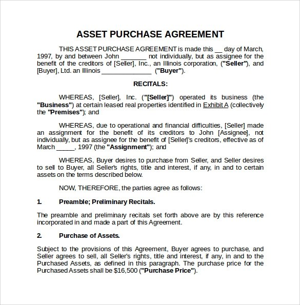 Asset Purchase Agreement Template - mandegarinfo - asset purchase agreement template