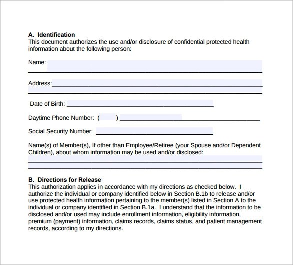 8 Hipaa Authorization Form Download for Free Sample Templates
