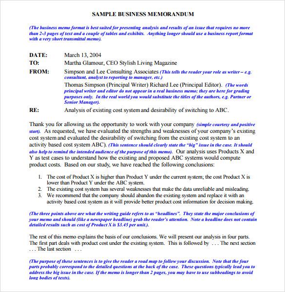 formal business memorandum
