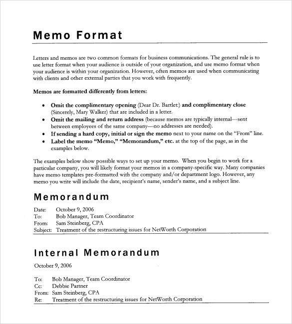 formal memo format