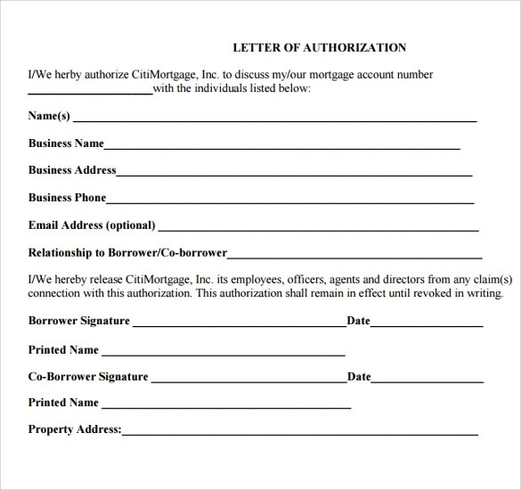 8 Sample Letter Of Authorization Forms Download for Free Sample - Letter Of Authorization Form