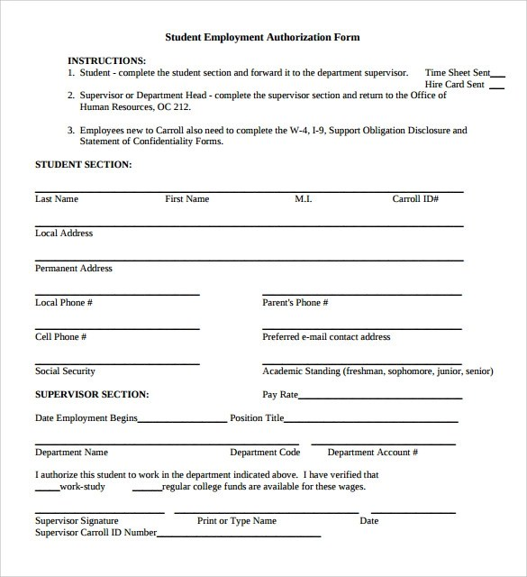8 Sample Employment Authorization Forms Download for Free Sample - Work Authorization Form