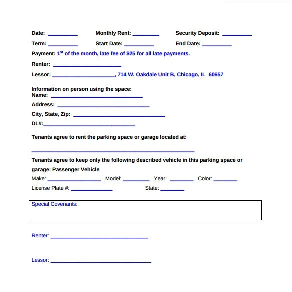 Parking Lease Agreement Templates - 9+ Free Word, PDF Format