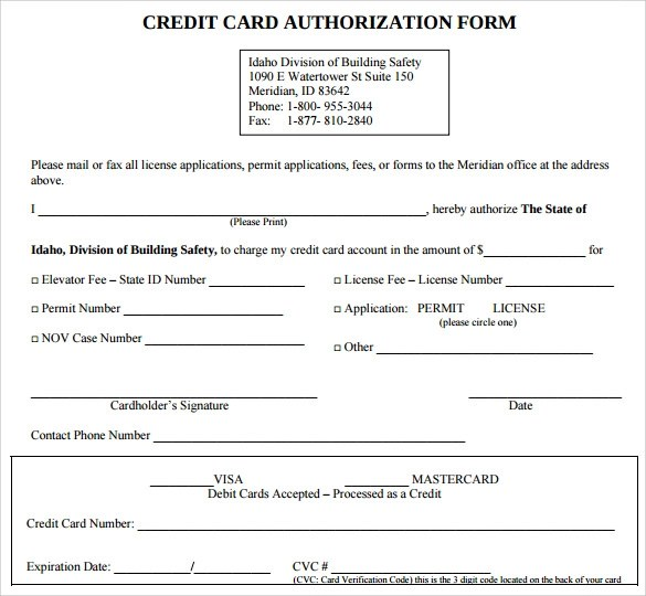 7 Credit Card Authorization Forms to Download Sample Templates - card authorization template