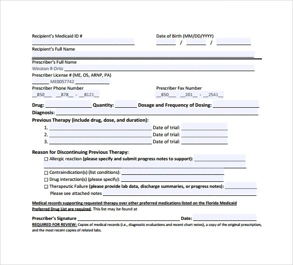 8 Medicaid Prior Authorization Form Download for Free Sample Templates - fax authorization form