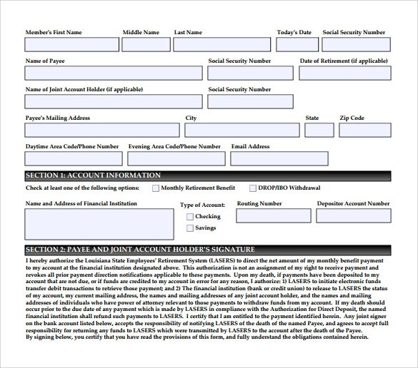 direct deposit authorization form examples - solarfm - direct deposit authorization form example