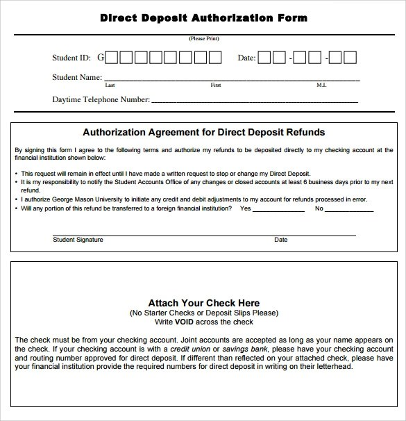 8 Direct Deposit Authorization Form Examples Download for Free - direct deposit authorization form example