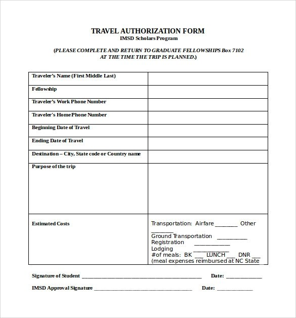 9 Sample Travel Authorization Form Examples to Download Sample