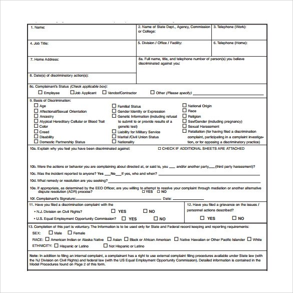 Sample Harassment Complaint Form Node2002 Cvresume Paasprovider Com .