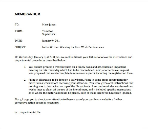 Casual Memo Letter Template 12 Sample Letters Of Dismissal – Professional Memo Template