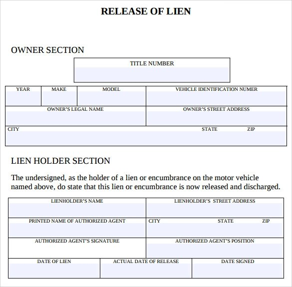 9 Lien Release Forms to Download Sample Templates