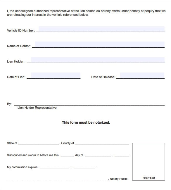 Sample Lien Release Form - 8+ Download Free Documents In PDF - release of lien form