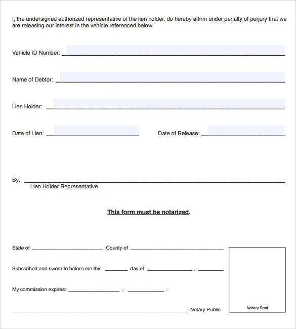 Doc#585585 Release of Interest Form u2013 Sample Release of Interest - vehicle release form