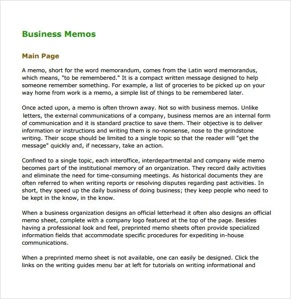 Sample Business Memo - 5+ Documents In PDF, WORD - sample business memo