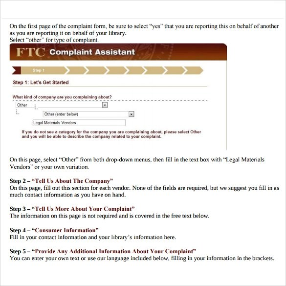 Sample Ftc Complaint Form - staruptalent -